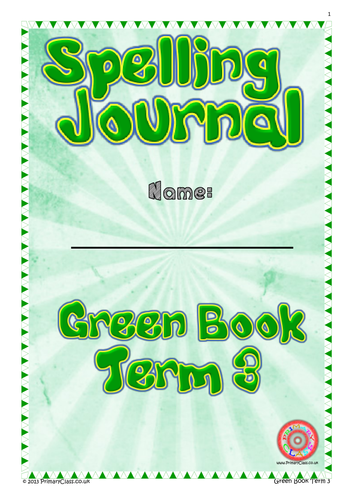Spelling Journal - Green Book Term 3 - Year 1 (Age 5/6) National Curriculum 2014