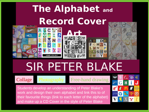 Peter Blake Yr 9 Self-identity. Pop Art KS3 use alphabets/favourite objects and Album Covers