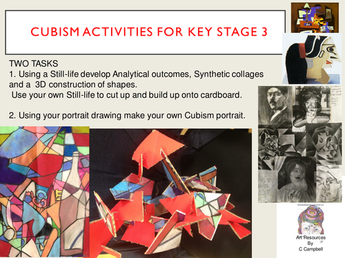 A KS3 Cubism, Still-life breakdown, painting collage and cardboard construction with portrait idea