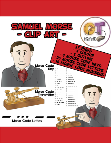 Samuel Morse and his invention Clip Art - 12 PNGS