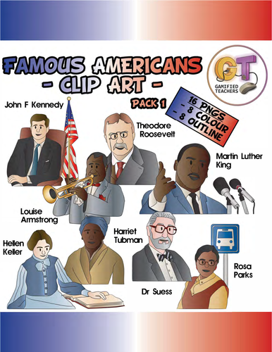 Famous Americans Clip Art Pack 1 - 16 PNGS