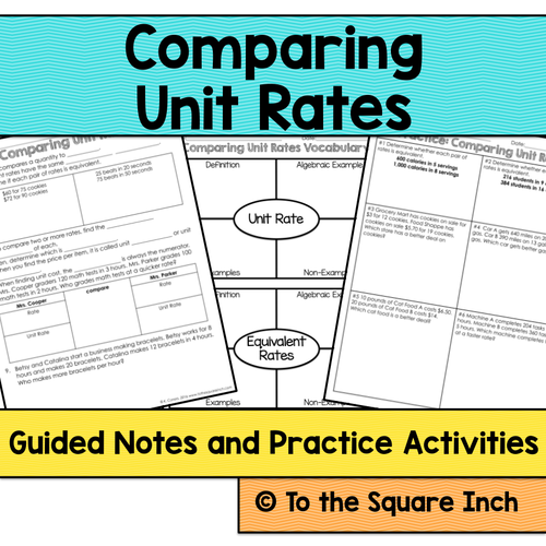To the Square Inch Math Teaching Resources TES – Comparing Unit Rates Worksheet