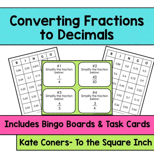 Converting Fractions to Decimals Bingo