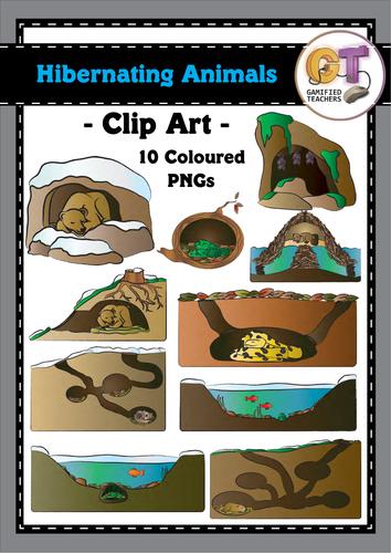 10 Hibernating Animals Clip Art