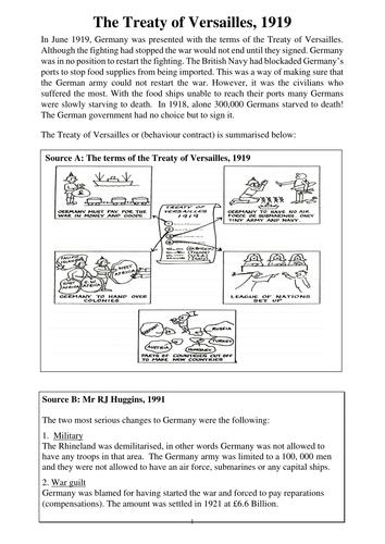 Treaty of Versailles, 1919 SEN Worksheet