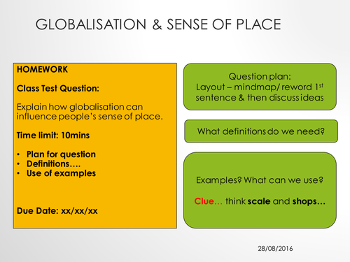 OCR A Level - Changing Spaces; Making Places - Lesson 4A - Globalisation Exam Question