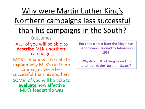 Why were Martin Luther King's Northern campaigns less successful than his campaigns in the South?