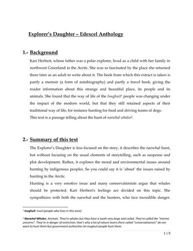 Edexcel English Language A anthology Explorer's Daughter
