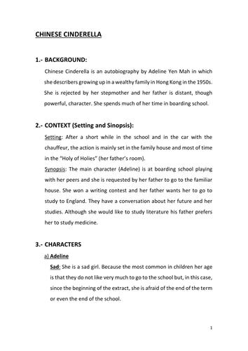 Edexcel English Language A anthology Chinese Cinderella