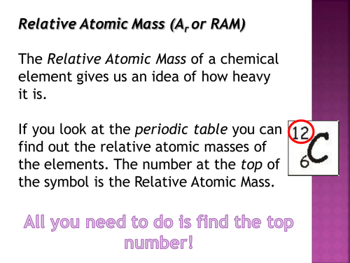 Chemical Calculations- Relative Atomic Mass 3