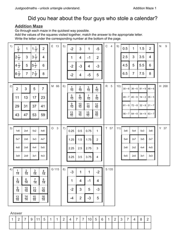 Addition mazes - calculate the answer to each riddle.