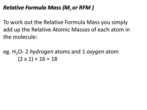 Chemical Calculations- Relative Formula Mass 2