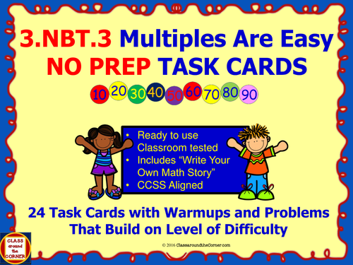 3.NBT.3 Math 3rd Grade NO PREP Task Cards—MULTIPLES OF TEN PRINTABLES