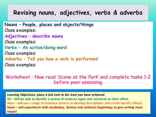Improving the impact of sentences/sentence structure/revision of terms