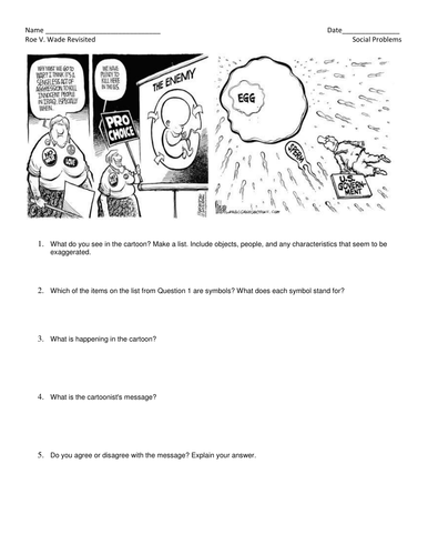 Roe V. Wade Revisited- Lesson with readings, cartoons