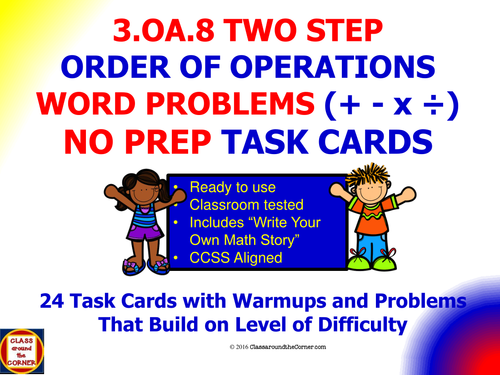 3.OA.8 Math 3rd Grade NO PREP Task Cards—SOLVE TWO-STEP WORD PROBLEMS USING THE FOUR OPERATIONS