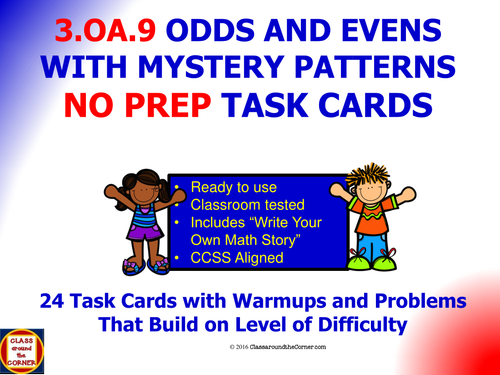 3.OA.9 Math 3rd Grade NO PREP Task Cards—PROPERTY OF OPERATIONS TO IDENTIFY PATTERNS