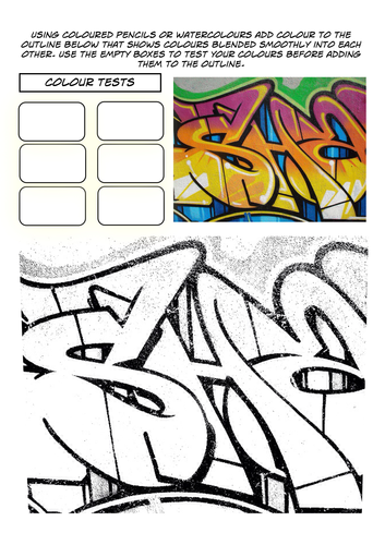Book Cover Drawing Exercises : Set of graffiti worksheets by rnd teaching resources