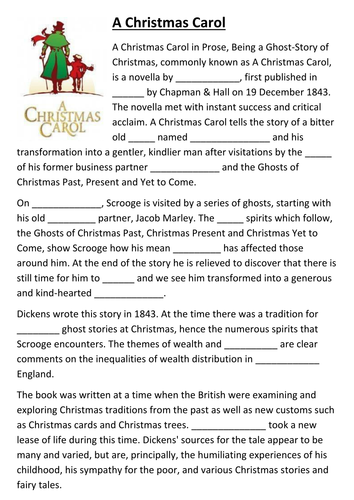 A Christmas Carol cloze activity by sfy773   Teaching ...