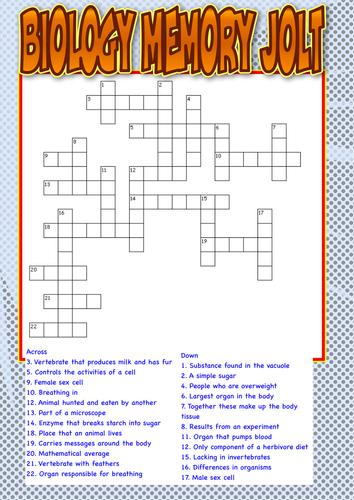 Biology Crossword for KS4 starters