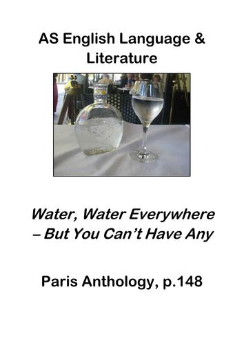 AS English Language & Literature Paris Anthology: 'Water, Water'