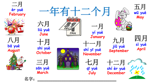 Mandarin Chinese Year 1: Months of the year