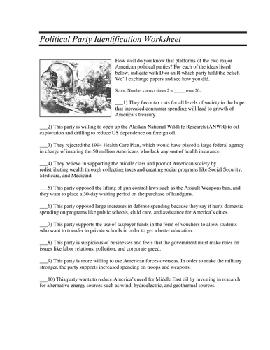 Political Party Identification Worksheet By Linni0011 Teaching