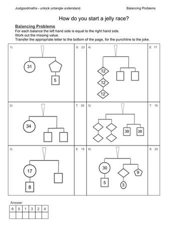Mobile - Balance problems - work out the missing values to get the ...