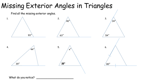 Missing Exterior Angles in Triangles by KeithEllingham Teaching – Exterior Angle Worksheet