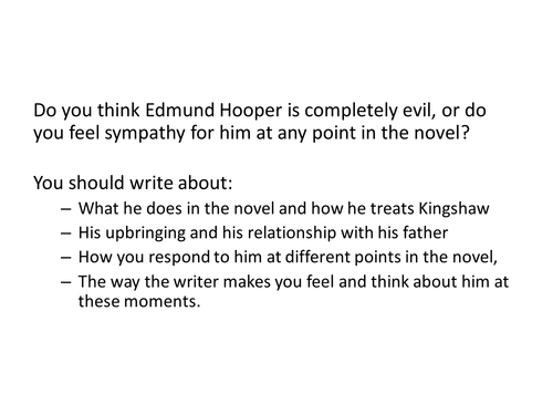 I'm the King of the Castle - Hooper essay question