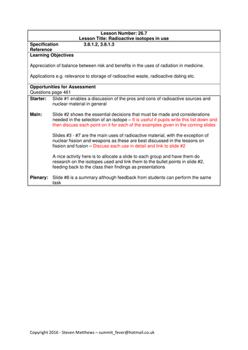 Physics A-Level Year 2 Lesson - Radioactive isotopes in use (PowerPoint AND lesson plan)