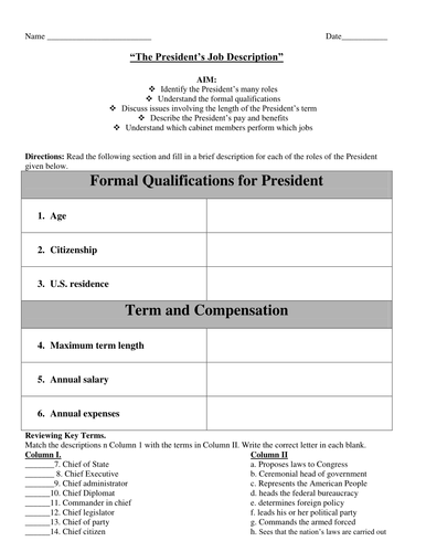 the presidents job description and the cabinet worksheet by linni0011 teaching resources tes. Resume Example. Resume CV Cover Letter