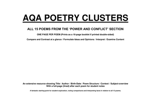 POWER AND CONFLICT POETRY CLUSTER (FULL BOOKLET WITH NOTES - AQA)