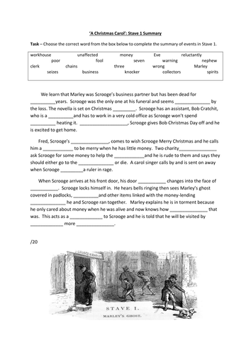 A Christmas Carol Stave 1 Summary.A Christmas Carol Stave 1 Summary Worksheet