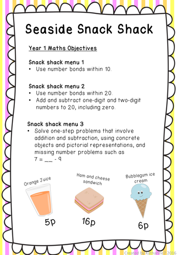 Holiday / beach menus for money addition, subtraction and problem ...