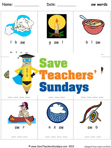 Long Ow Phonics Worksheets Activities Flash Cards