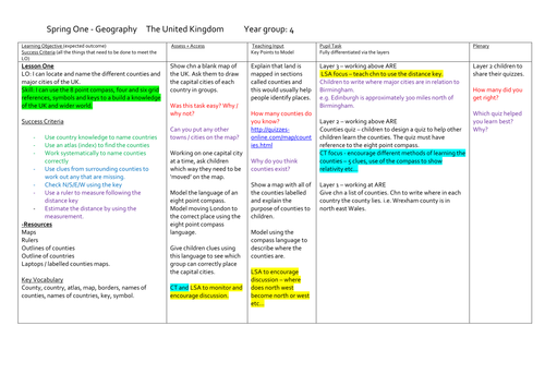 KS2 Geography Scheme of Work (Full Lesson Plans and Resources) - The UK