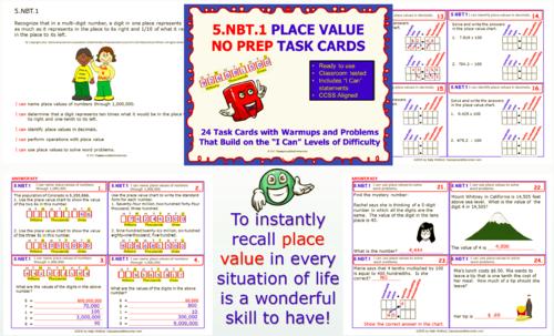 5.NBT.1 Math 5TH Grade NO PREP Task Cards—PLACE VALUE PRINTABLES
