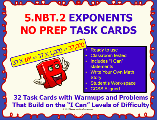 5.NBT.2 Math 5TH Grade NO PREP Task Cards—POWER OF TEN PRINTABLES