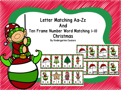 Letter Matching Aa-Zz and Ten Frames, Number Word Match 1-10 ...