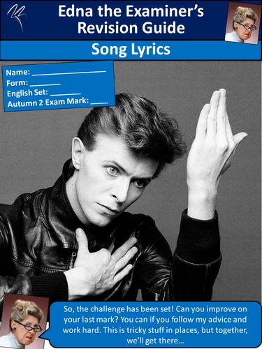 AQA English Language Paper 2 Bowie Lyrics Activity Workbook