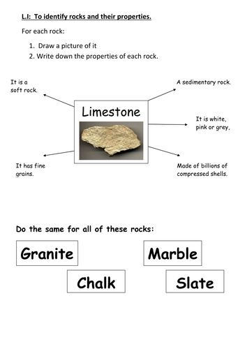 Rock fact file and reading comprehension