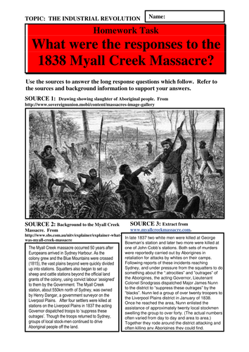 What were the responses to the 1838 Myall Creek Massacre?