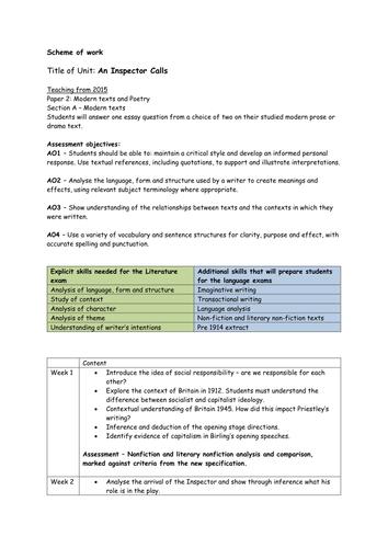 An Inspector Calls - scheme and resources