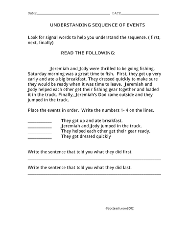 Worksheet: Story Sequencing (upper elem)