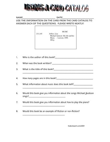Worksheet: Card Catalog (elem/upper elem)