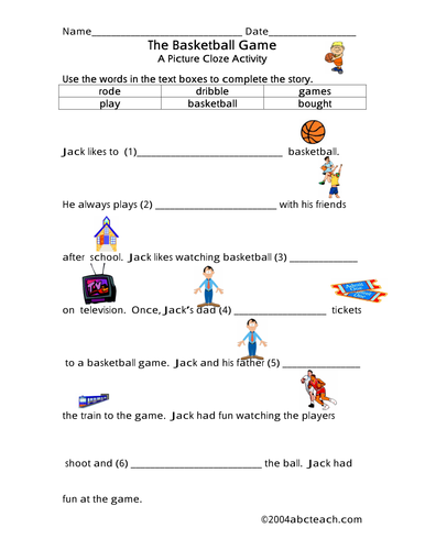 Worksheet: Picture Cloze - Basketball (elem)