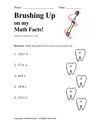 Worksheet: Brushing Up on my Math 2 (pre-k/primary)
