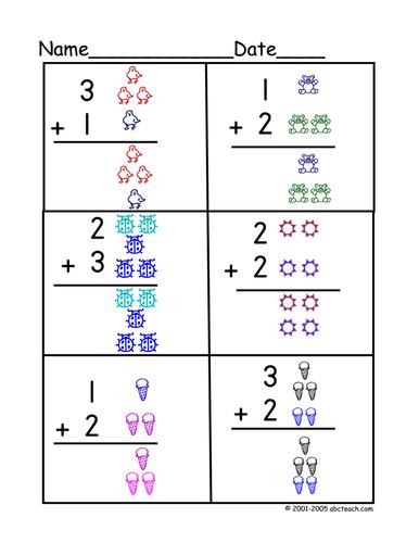 Worksheet: Basic Addition 2 (color)