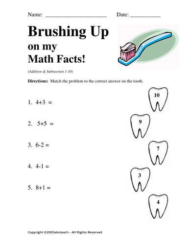 Worksheet: Brushing Up on my Math 1 (pre-k/primary)